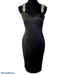 Ted Baker rhinestone strap sheath dress black sz 3